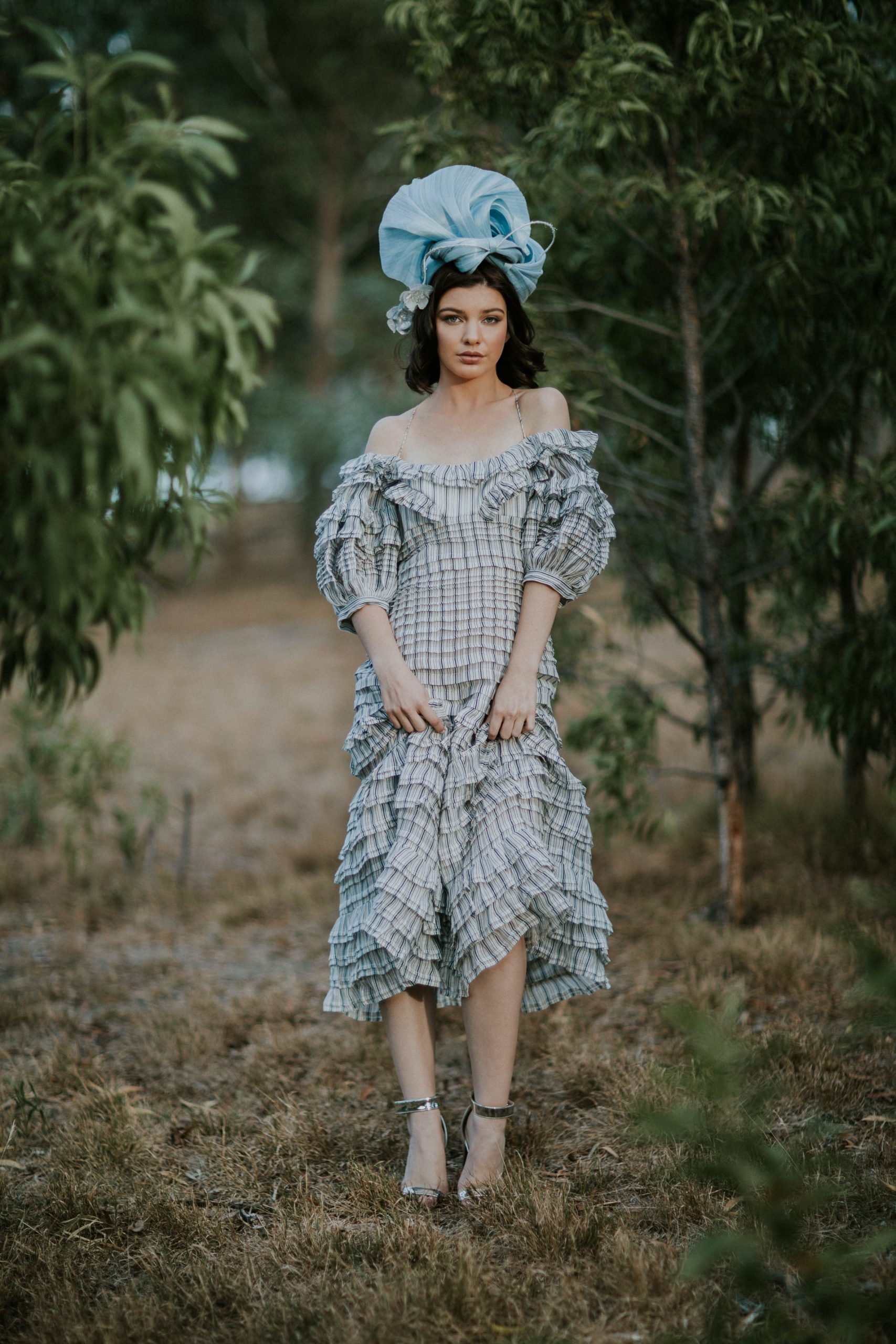 Outfit for the races with millinery - creative millinery design - handmade in Melbourne