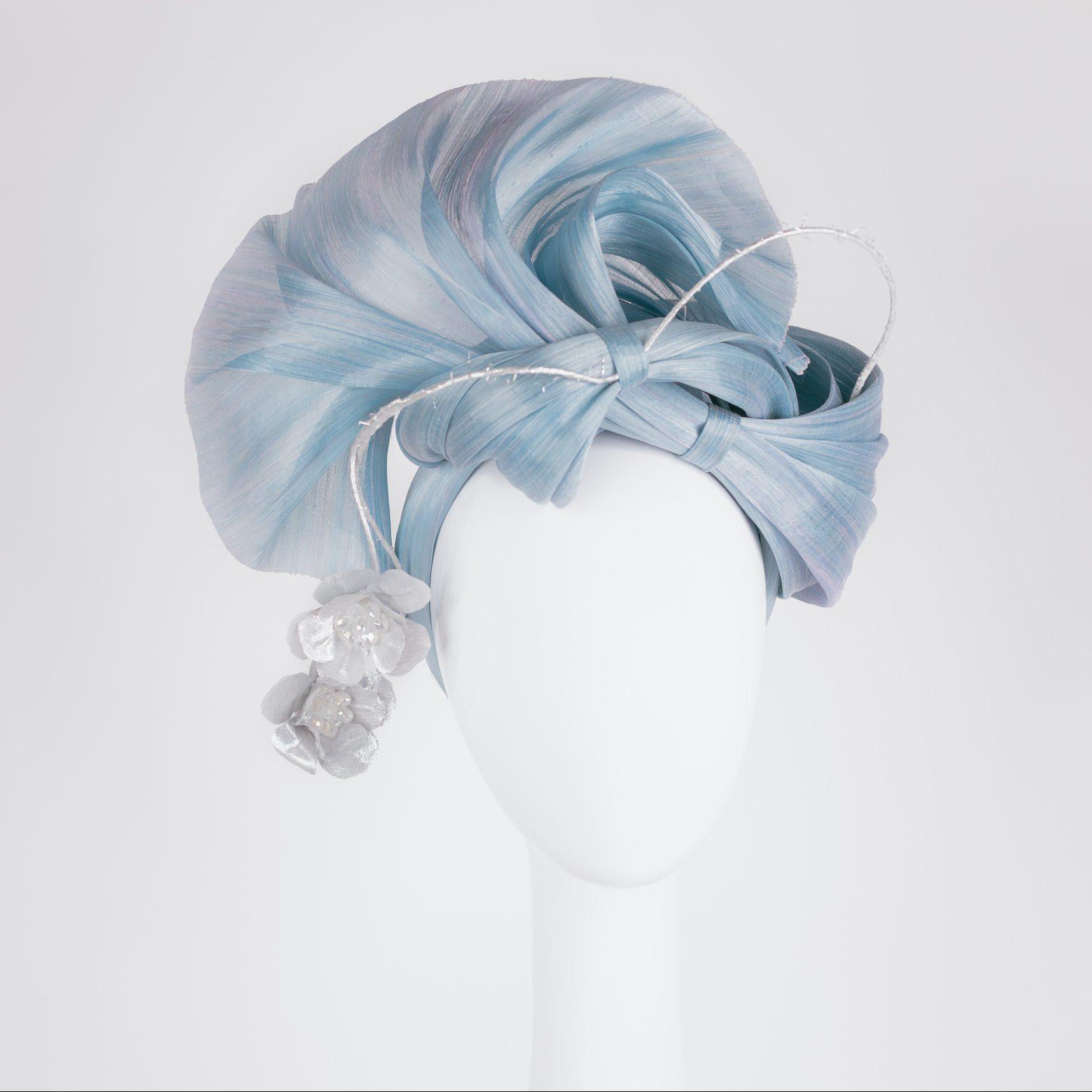 Skye Blue Silk Abaca With Silver Metallic Fabric Flowers Velvet