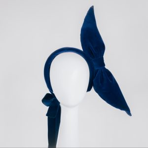 Millinery bow - blue velvet - unique