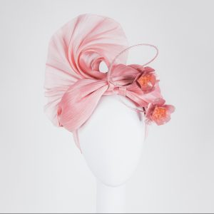 Silk Abaca - Headpiece in pink for the FTOF Fashions on the Field - Designer Millinery from Melbourne