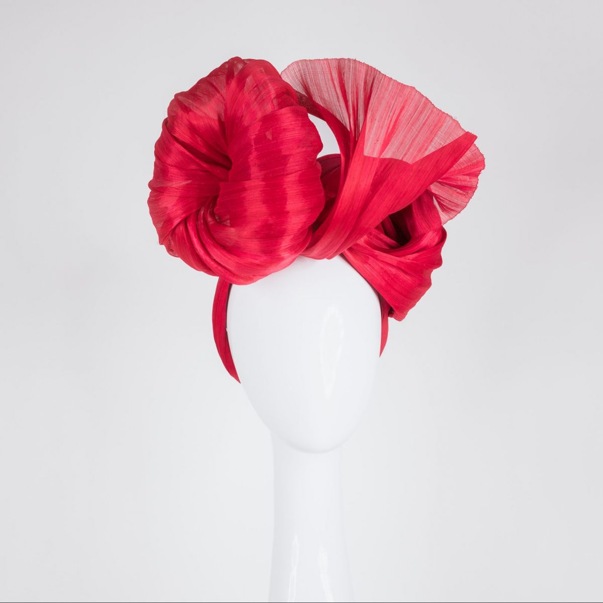 Millinery made in Melbourne - red headpiece to wear at the races - easy to wear Millinery