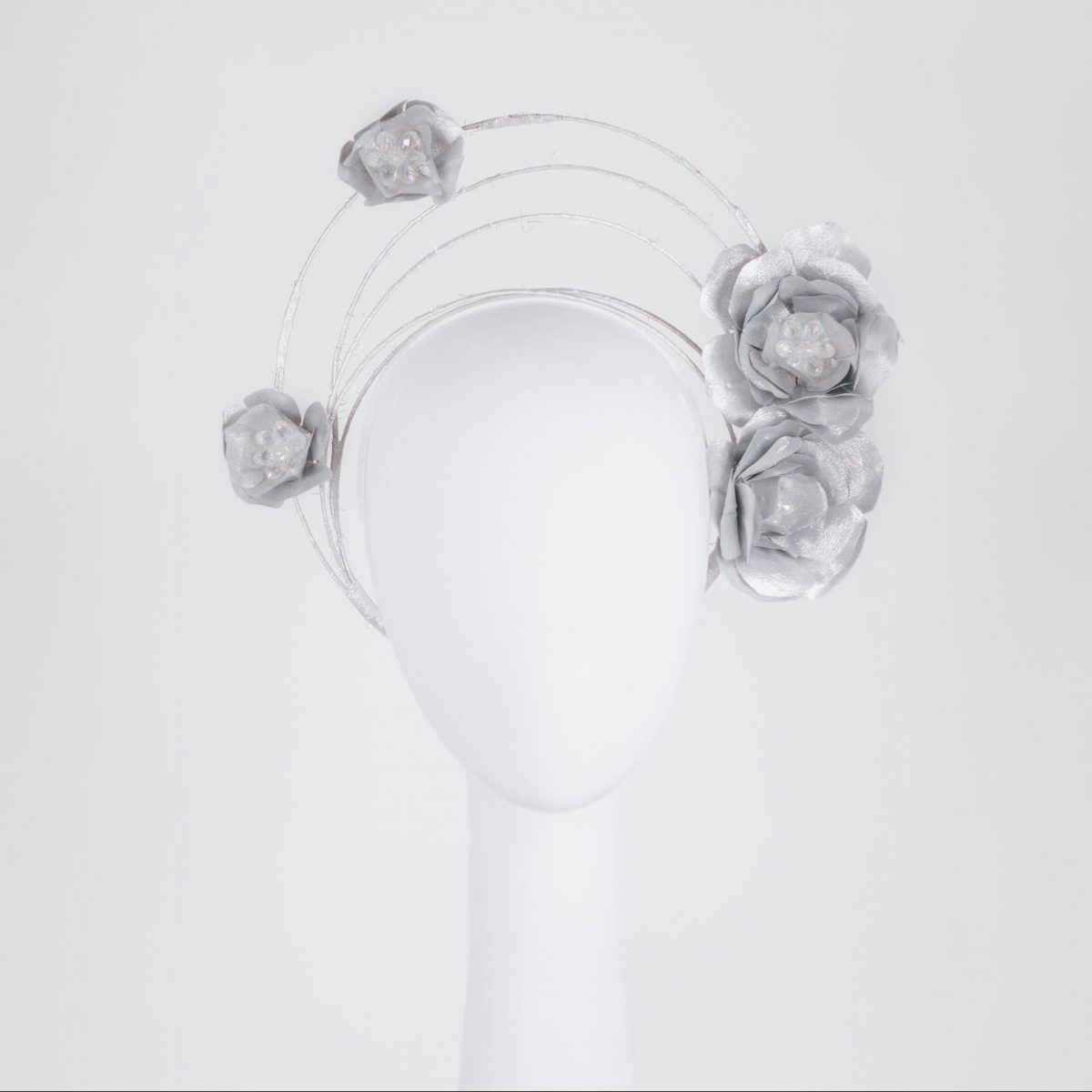 Silver flowercrown millinery