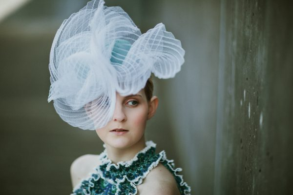 exclusive millinery - turquiose and white