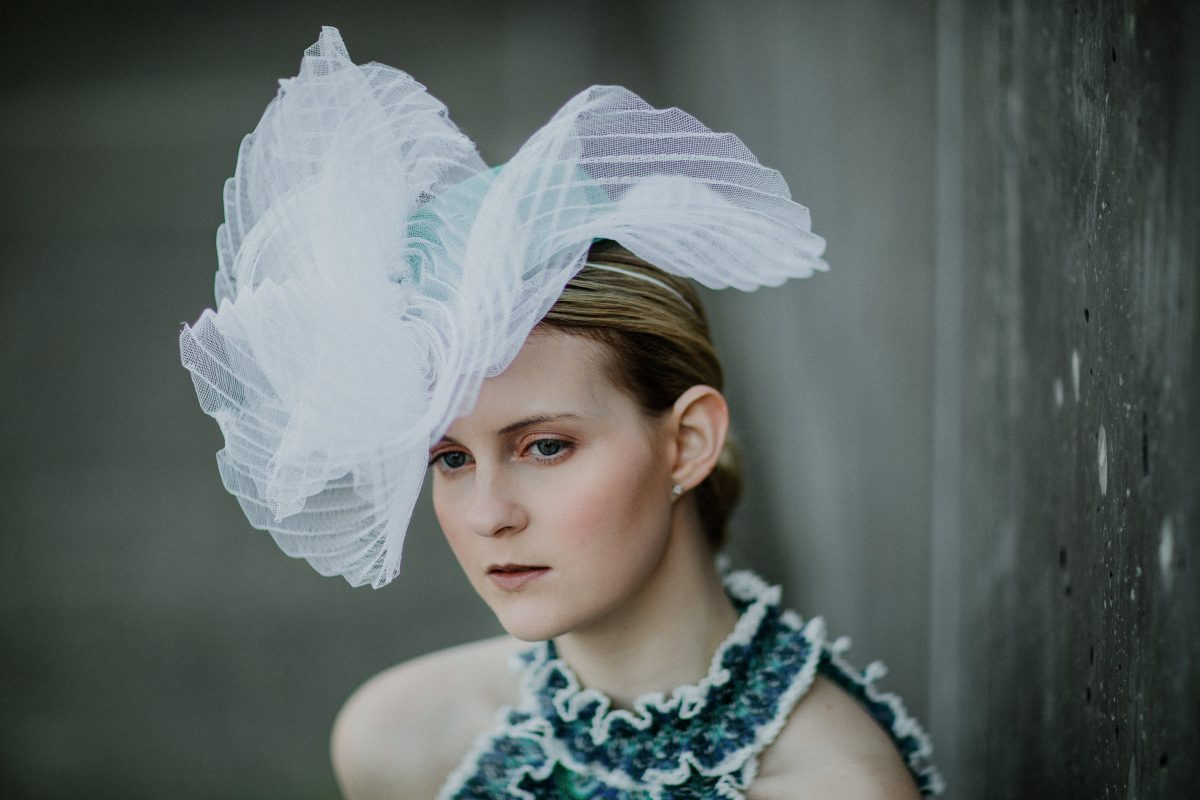 millinery fashion - crinoline headpiece handmade