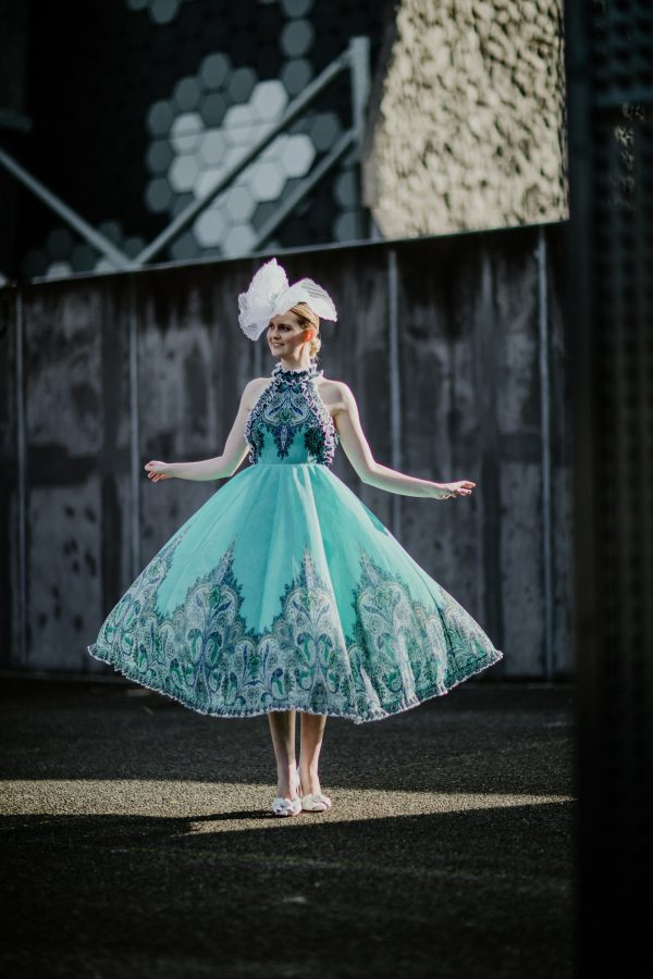 model wearing zimmerman dress and velvet&tonic millinery in Melbourne - fashion editorial