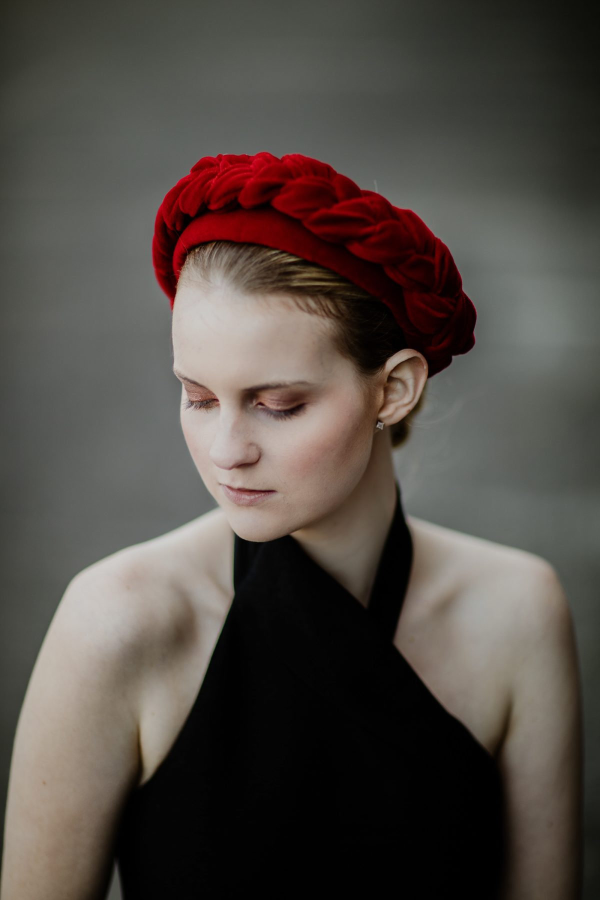 Melbourne Cup Millinery - red headband - exclusive and luxurious designs
