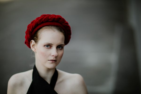 red velvet headband - designer millinery from Melbourne - perfect for royal ascot or the dubai races