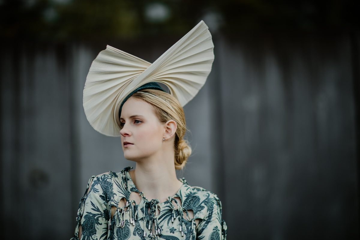 fan headpiece - structural moden milliner - handmade in Melbourne - unique exclusive designs