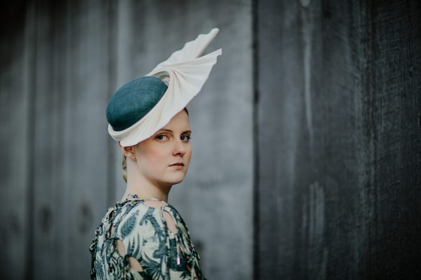 designer millinery on model - regal princess look with millinery