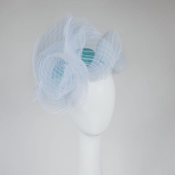 Celeste Millinery - Turquoise Sinamay and White Crinoline