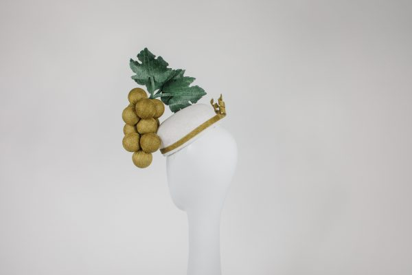 olive green on white base - blocked hat with round sinamay grapes with leaves - unique designer hat for the races