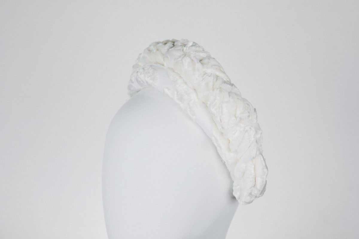 white velvet headband