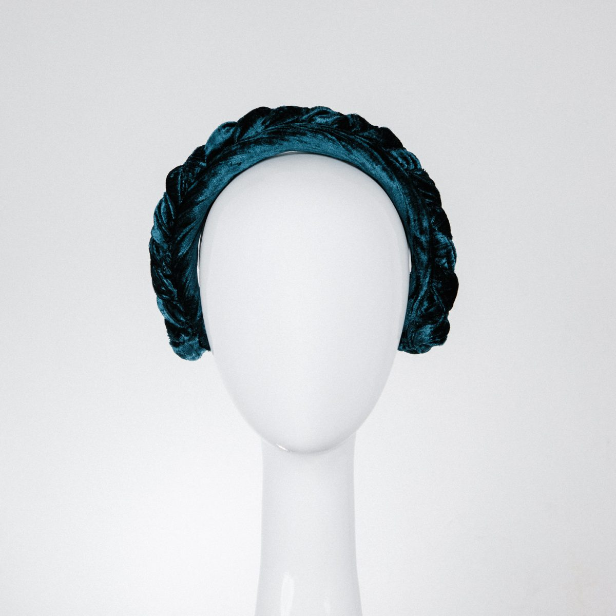 Braided Teal Blue Velvet Headband