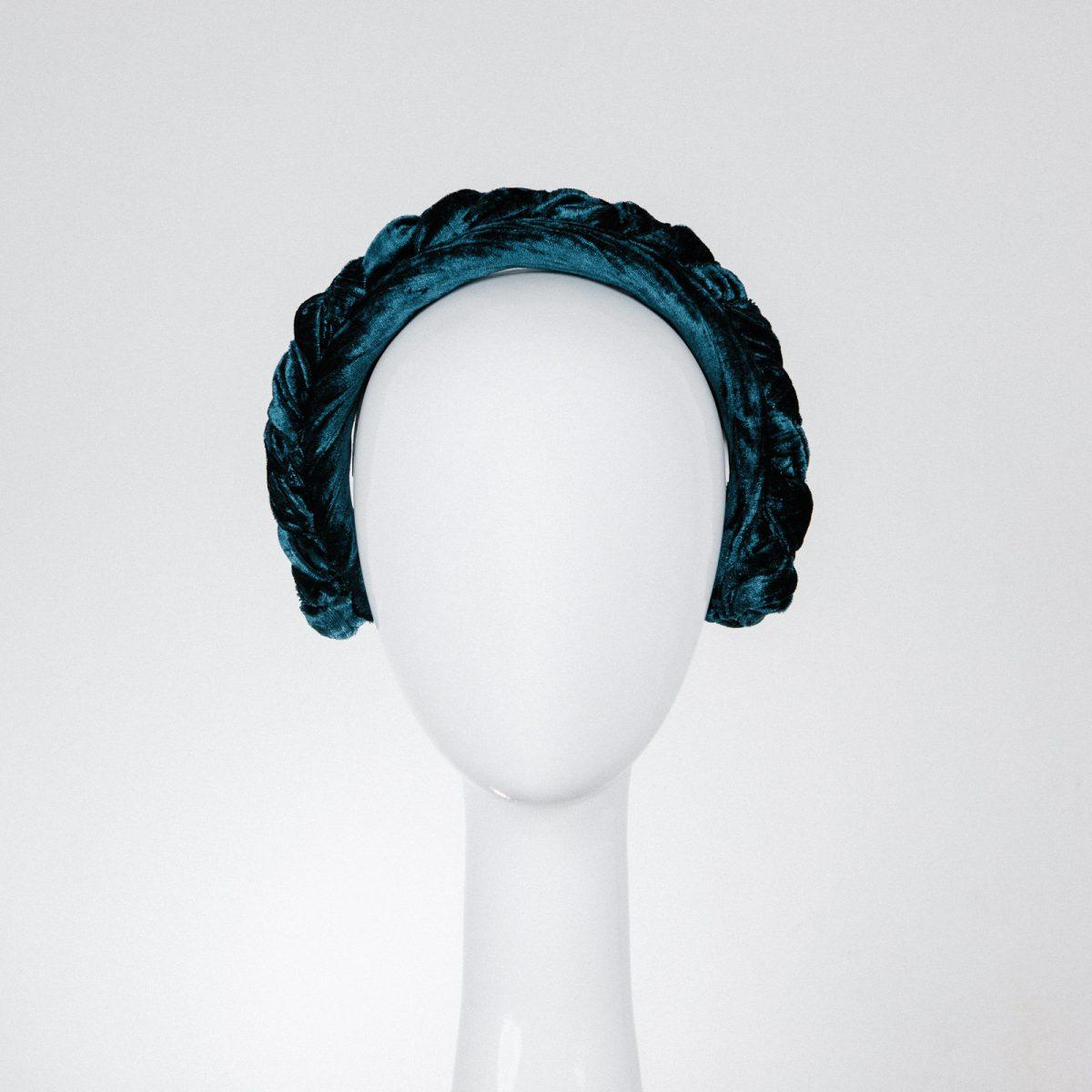 Braided Teal Blue Velvet Headband