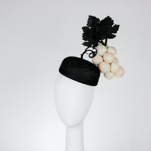 Cream and black - wine grape hat