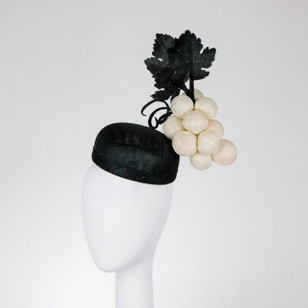 creative headpieces Cream and black for derby day