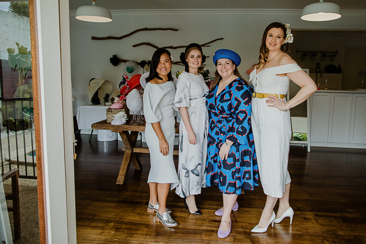 Melbourne Milliners at Millinery event - Souri from Velvet & Tonic, Anita from Anita Marshall Millinery, Lisa from Lisa Hughes Millinery, Michelle from Hattricks