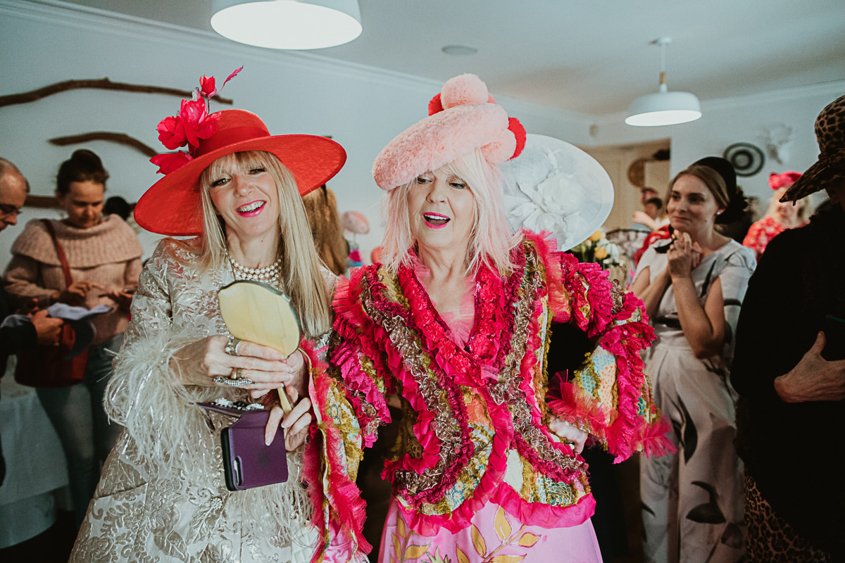 stylish ladies at Millinery event in Melbourne - luxurious headpeices