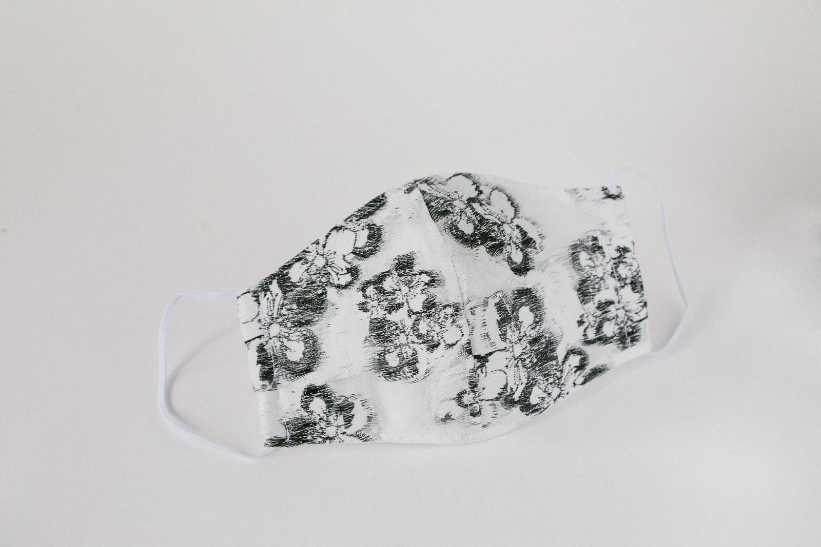 Handmade designer facemask - Melborune facemask - black and white