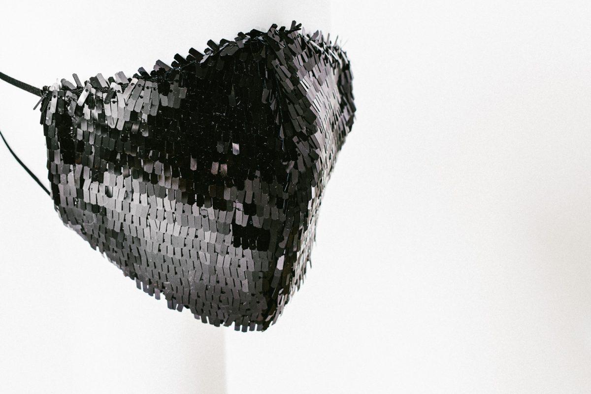 sequin facemask - designer facemask in black