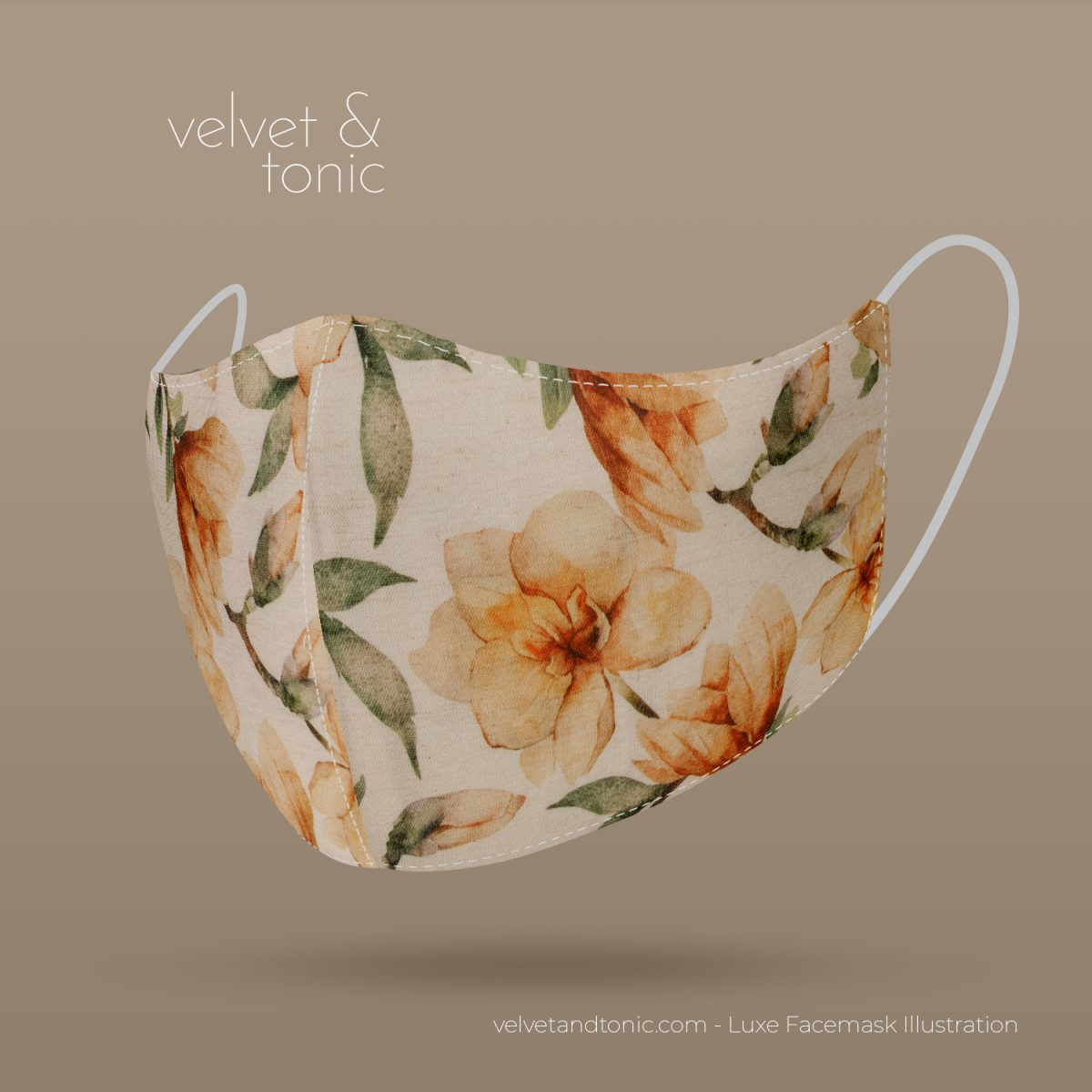 Designer Facemask - Magnolia Design - Flower - Linen fabric blend