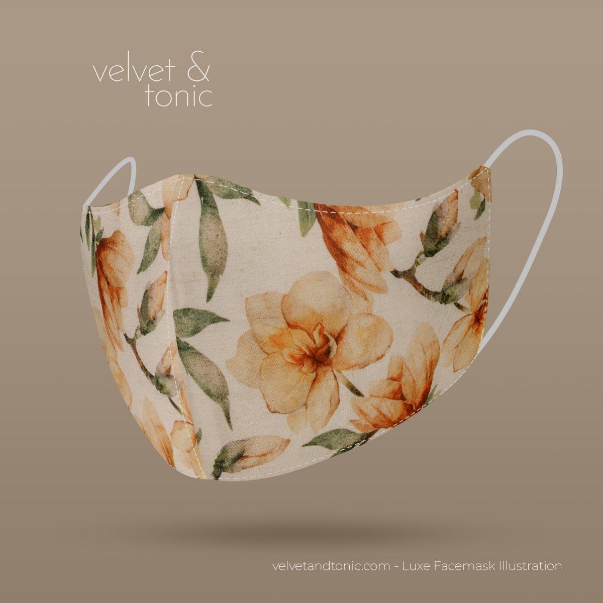 Designer Facemask - Magnolia Design - Flower - Linen fabric blend
