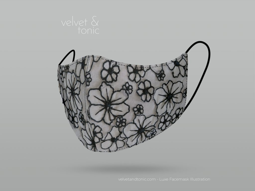 Silk Black and White Facemask - 3D flower fabric silk - Luxury Facemasks