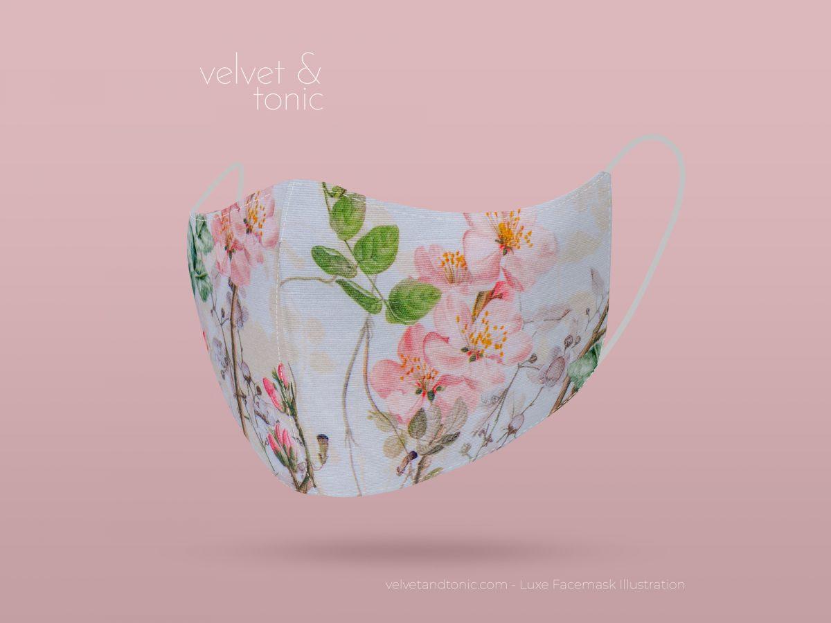 Designer spring facemask with floral design