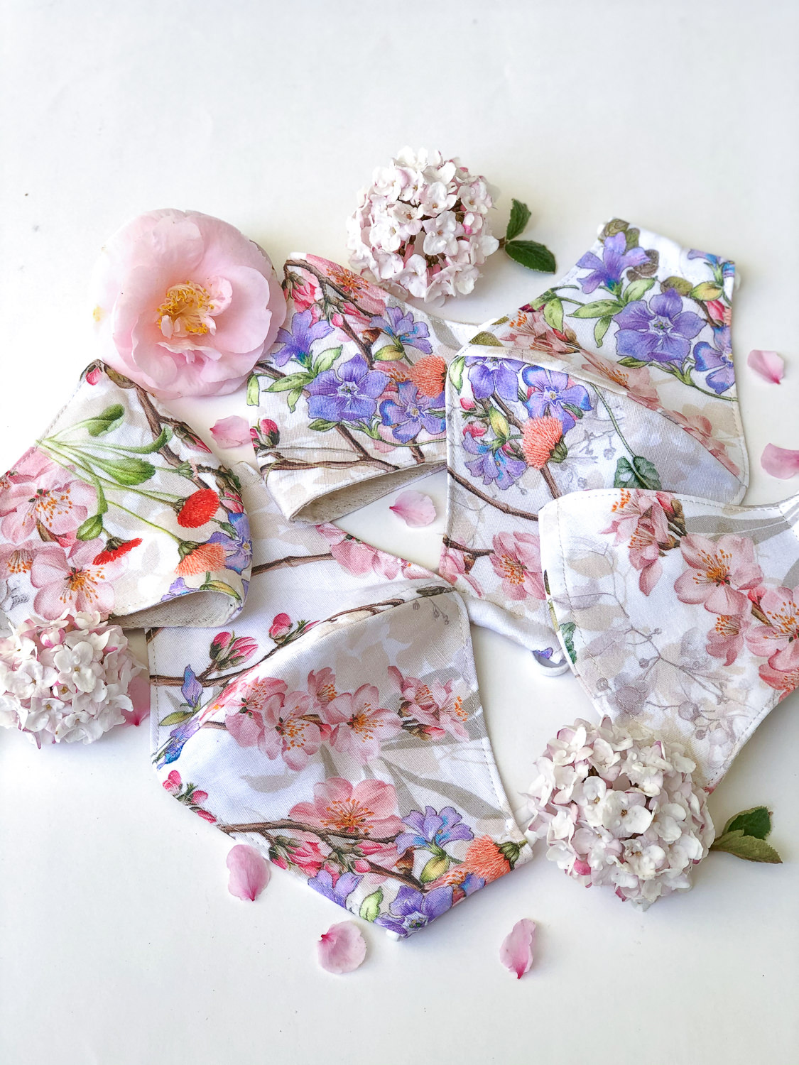 floral facemasks with luxury floral print - linen facemask - quality facemask